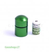 Nano konteineris,  aliumininis, žalios spalvos su užrašine