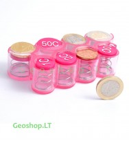 Euro monetų laikiklis, rožinis