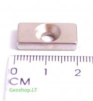Neodimo magnetas N35 20x10x4 su konusine skyle