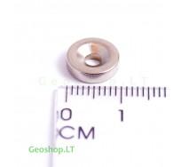 Neodimo magnetas, apvalus, N35 D10x3 su konusine skyle