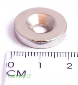 Neodimo magnetas, apvalus, N35 D20x4 su konusine skyle