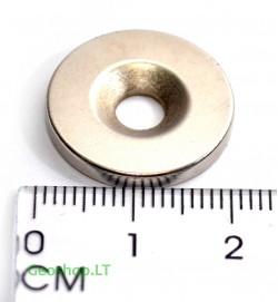 Neodimo magnetas, apvalus, N35 D25x5 su konusine skyle