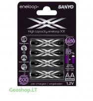 4 vnt įkraunamų AA elementų Eneloop XX 2550 mAh