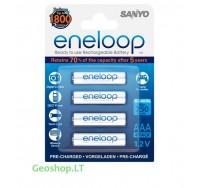 4 vnt įkraunamų elementų AAA Eneloop 750 mAh