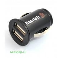 Dvigubas automobilinis USB įkroviklis 12V, 1000mA, 500mA