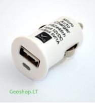 Automobilinis USB įkroviklis 12V, 1000mA, baltas