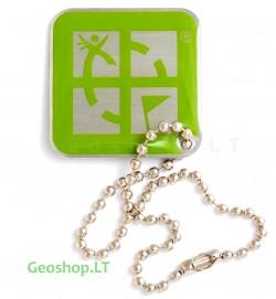 Geocaching Logo - keliaujantis prisegtukas - žalias