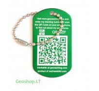 QR Tech Tag žalias keliaujantis prisegtukas