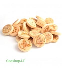Lietuviškos medinės geomonetos (25 vnt)